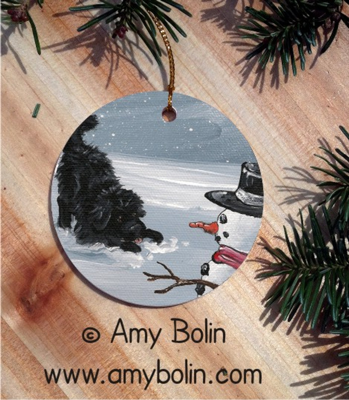 CERAMIC ORNAMENT · MY SNOWY  FRIEND · BLACK NEWFOUNDLAND · AMY BOLIN
