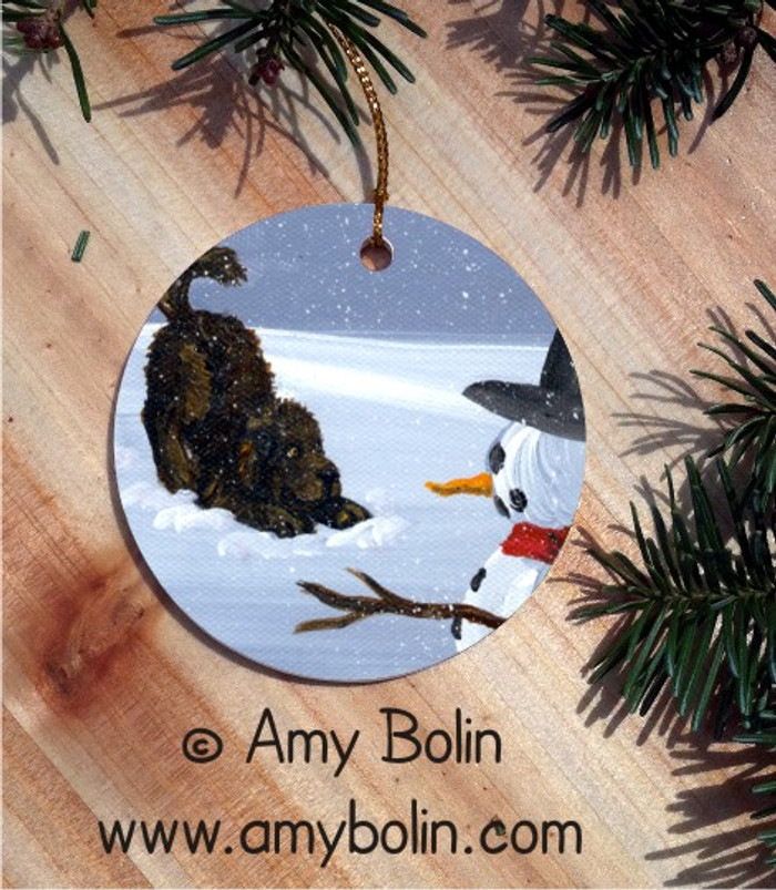 CERAMIC ORNAMENT · MY SNOWY  FRIEND · BROWN NEWFOUNDLAND · AMY BOLIN