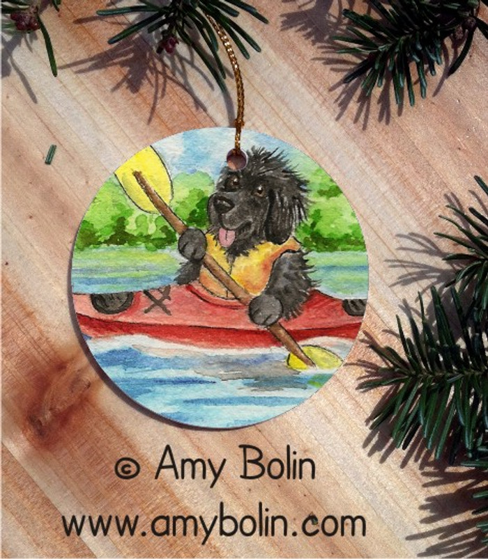 CERAMIC ORNAMENT · SUMMER IS FOR KAYAKING  · BLACK NEWFOUNDLAND · AMY BOLIN