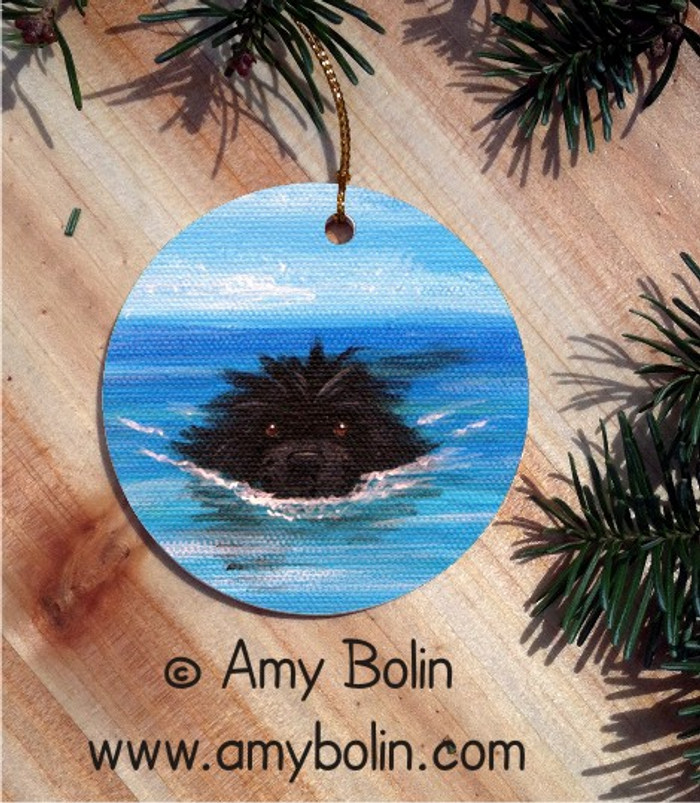 CERAMIC ORNAMENT · SWIMMING NEWF  · BLACK NEWFOUNDLAND · AMY BOLIN