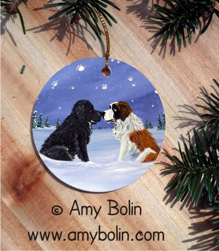 CERAMIC ORNAMENT · A COLD, WET HELLO · BLACK NEWFOUNDLAND & SAINT BERNARD · AMY BOLIN