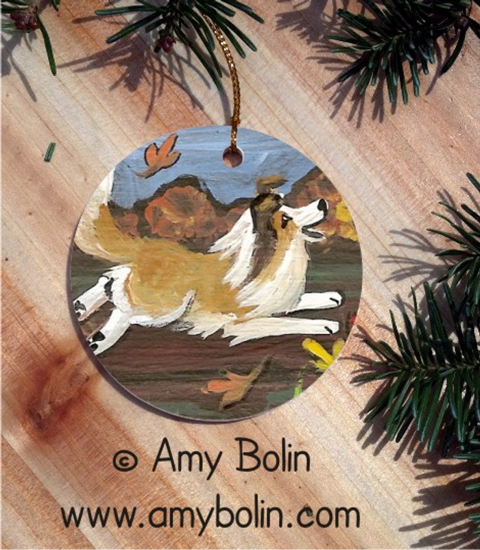 CERAMIC ORNAMENT · A PERFECT FALL DAY · SABLE SHELTIE · AMY BOLIN