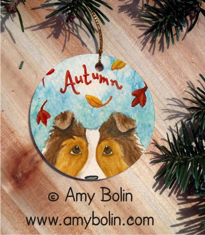 CERAMIC ORNAMENT · AUTUMN  · SABLE SHELTIE · AMY BOLIN