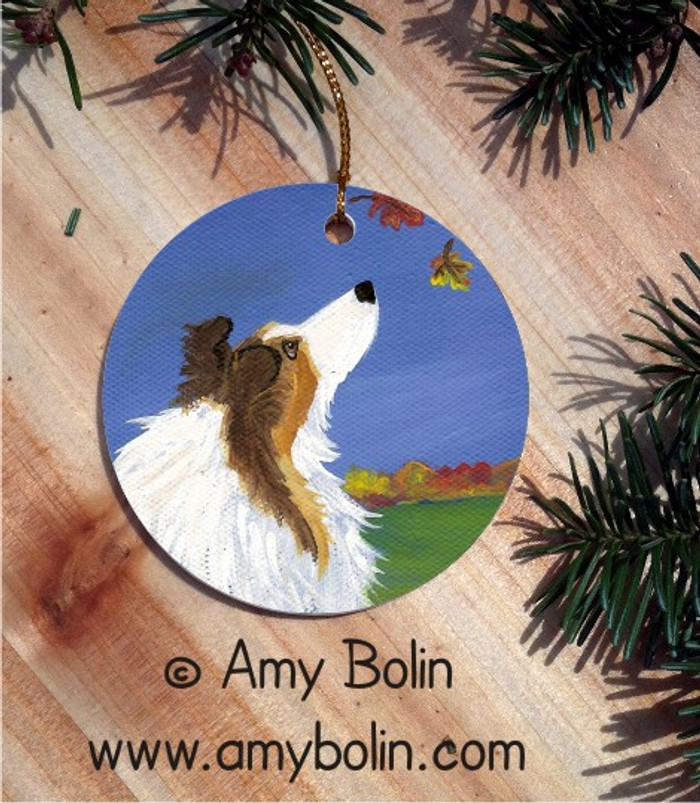 CERAMIC ORNAMENT · AUTUMN'S SIMPLE PLEASURES 2  · SABLE SHELTIE · AMY BOLIN