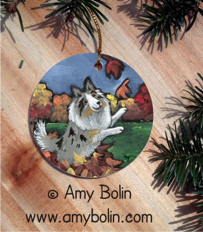 CERAMIC ORNAMENT · CHASING LEAVES · BLUE MERLE SHELTIE · AMY BOLIN