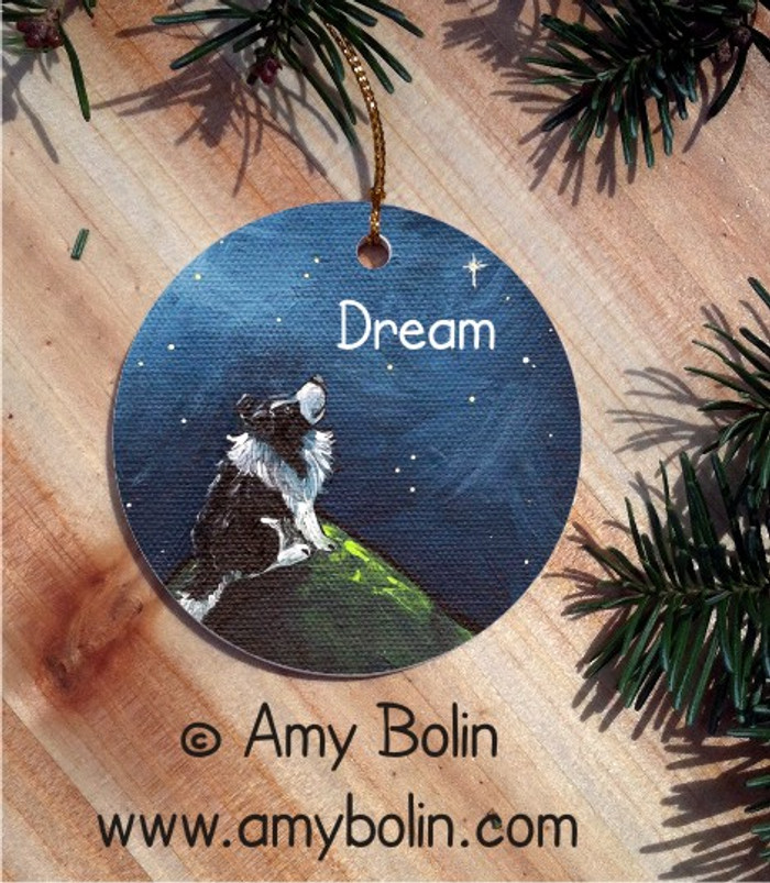 CERAMIC ORNAMENT · DREAM · BI BLACK SHELTIE · AMY BOLIN