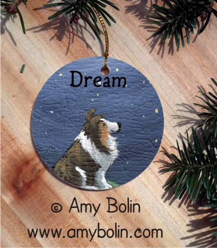 CERAMIC ORNAMENT · DREAM · SABLE SHELTIE · AMY BOLIN