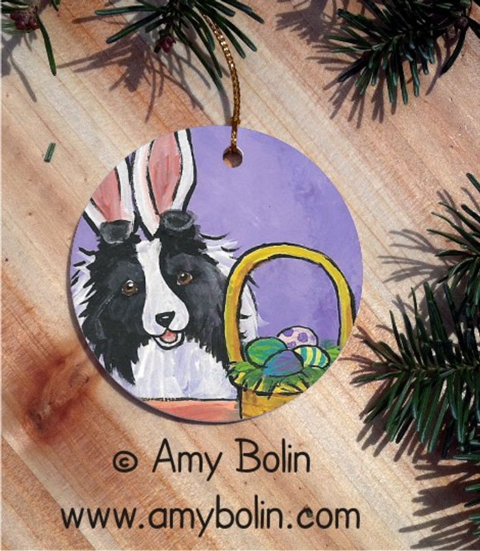 CERAMIC ORNAMENT · HAPPY EASTER · BI BLACK SHELTIE · AMY BOLIN