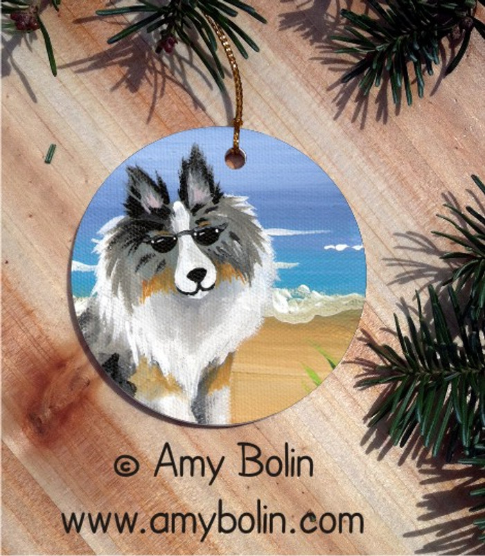 CERAMIC ORNAMENT · HELLO HOLLYWOOD · BLUE MERLE SHELTIE · AMY BOLIN
