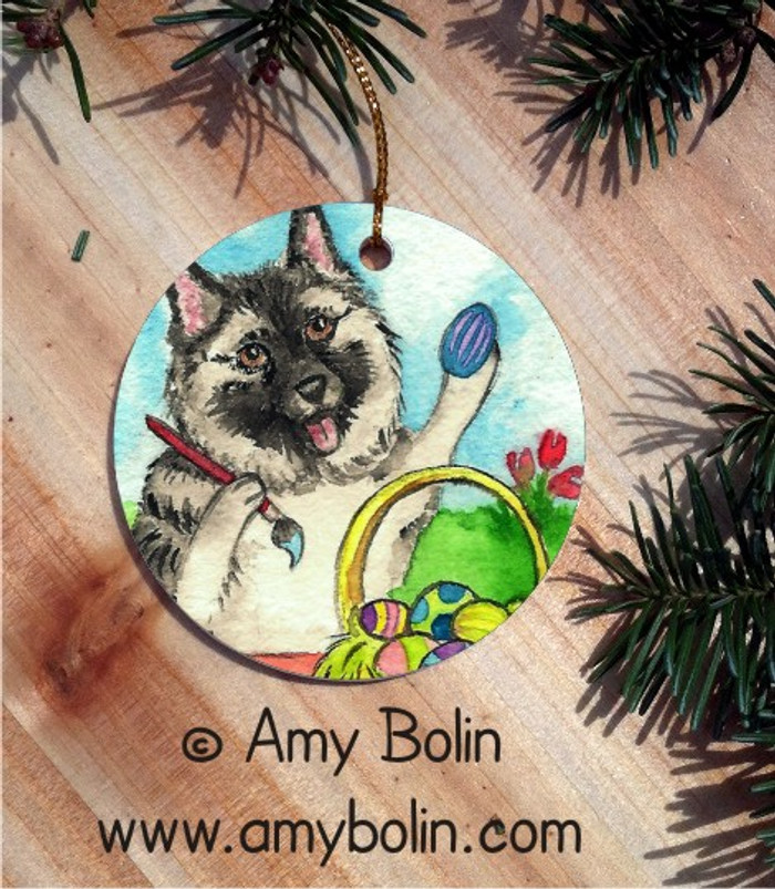 CERAMIC ORNAMENT · EASTER EGG ARTIST · NORWEGIAN ELKHOUND · AMY BOLIN