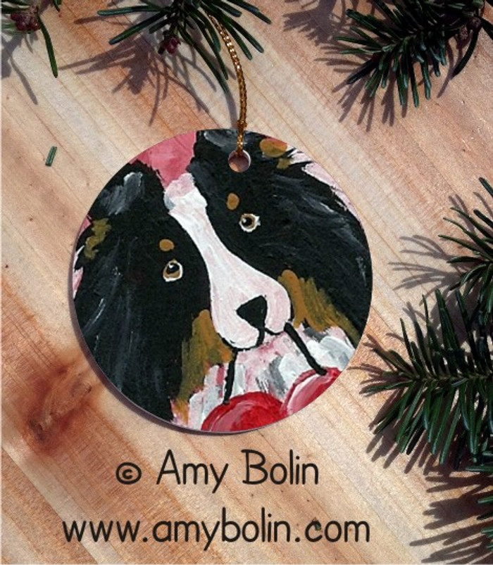 CERAMIC ORNAMENT · BE MY VALENTINE · TRI COLOR SHELTIE · AMY BOLIN