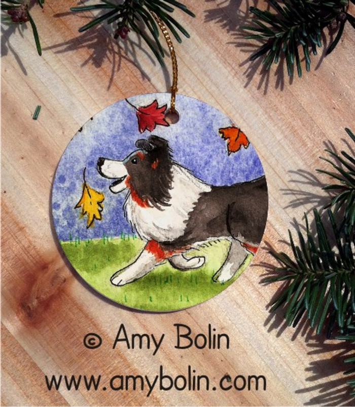 CERAMIC ORNAMENT · CHASING LEAVES · TRI COLOR SHELTIE · AMY BOLIN