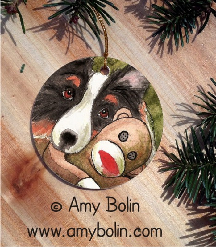CERAMIC ORNAMENT · CUDDLE MONKEY · TRI COLOR SHELTIE · AMY BOLIN