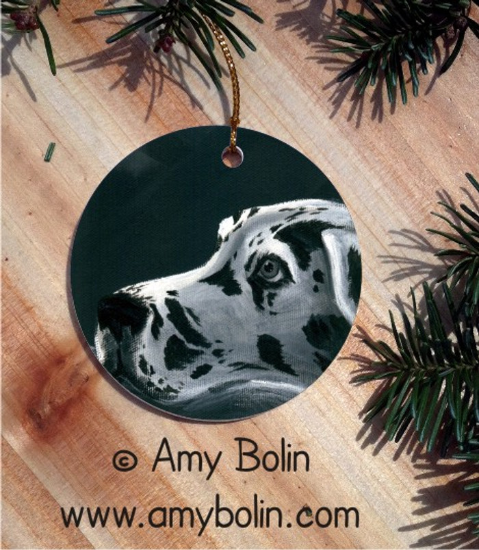 CERAMIC ORNAMENT · HARLEQUIN DANE  · GREAT DANE · AMY BOLIN