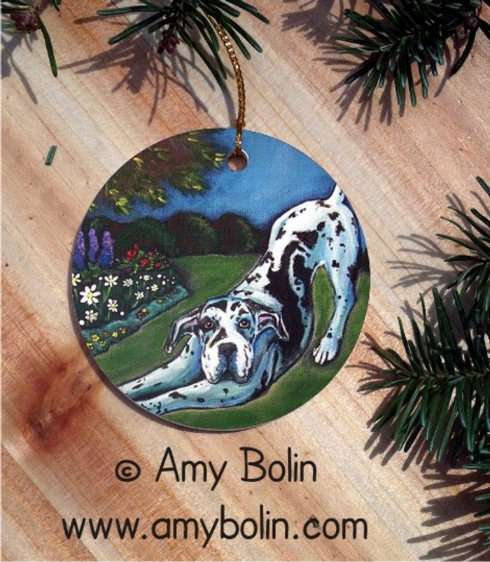 CERAMIC ORNAMENT · HARLEQUIN GARDEN  · GREAT DANE · AMY BOLIN
