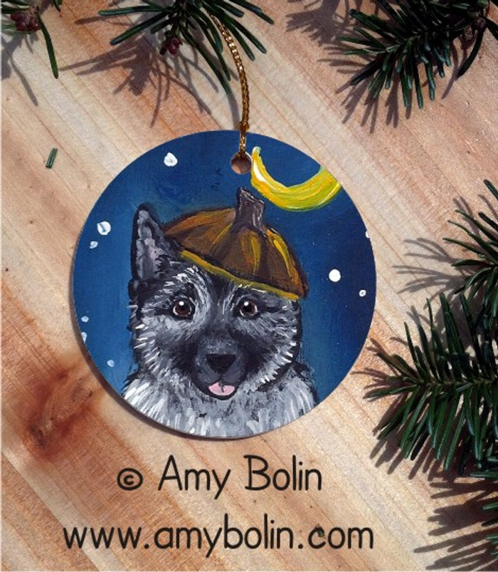 CERAMIC ORNAMENT · HAPPY HOWLOWEEN · NORWEGIAN ELKHOUND · AMY BOLIN