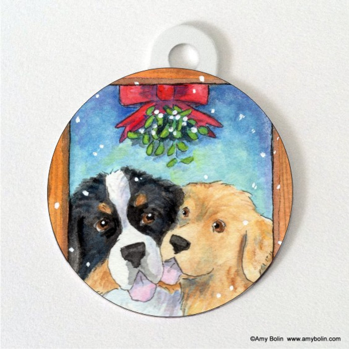 DOUBLE SIDED PET ID TAG · UNDER THE MISTLETOE · BERNESE MOUNTAIN DOG & GOLDEN RETRIEVER · AMY BOLIN