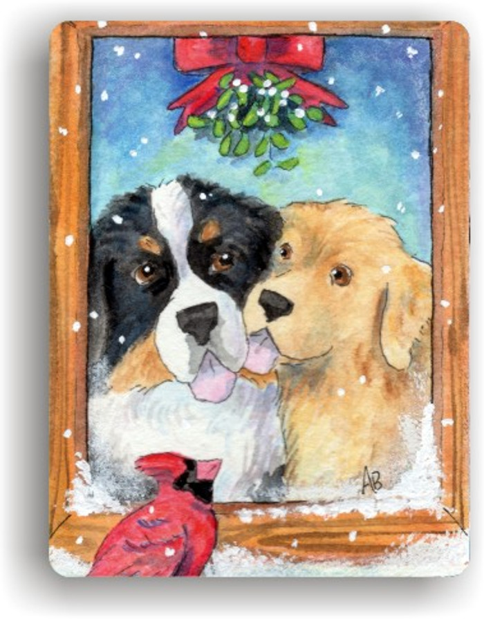 MAGNET · UNDER THE MISTLETOE · BERNESE MOUNTAIN DOG & GOLDEN RETRIEVER · AMY BOLIN