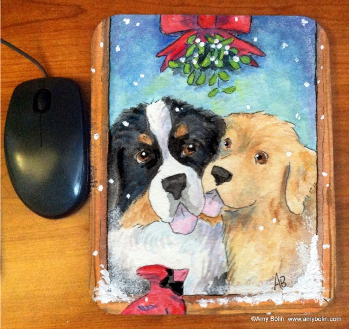 MOUSE PAD · UNDER THE MISTLETOE · BERNESE MOUNTAIN DOG & GOLDEN RETRIEVER · AMY BOLIN