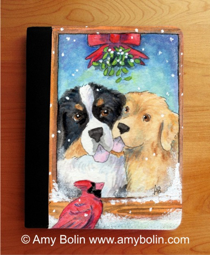 NOTEBOOKS (SEVERAL SIZES AVAILABLE) · UNDER THE MISTLETOE · BERNESE MOUNTAIN DOG & GOLDEN RETRIEVER · AMY BOLIN