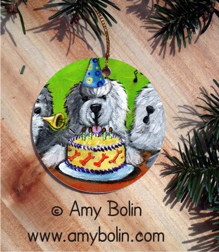 CERAMIC ORNAMENT · HAPPY BIRTHDAY TO YOU · OLD ENGLISH SHEEPDOG · AMY BOLIN