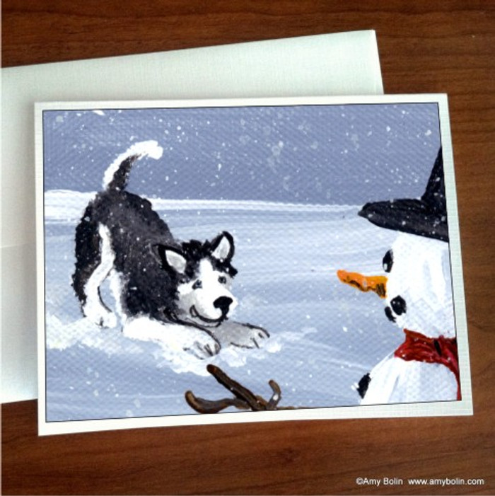 """My Snowy Friend (Blue Eyes)"" Siberian Husky (Black) Note Cards"