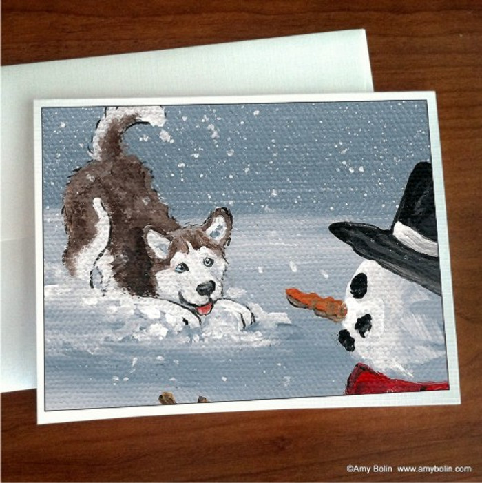 NOTE CARDS · MY SNOWY FRIEND (RED WITH BLUE EYES) · HUSKIES & MALAMUTES · AMY BOLIN
