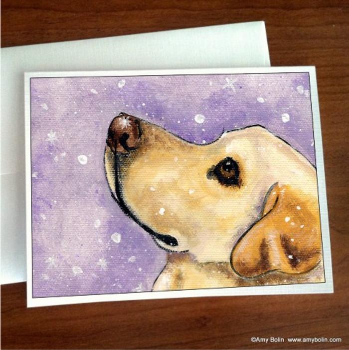 """Wish Upon A Snowflake"" Yellow Labrador Retriever Note Cards"