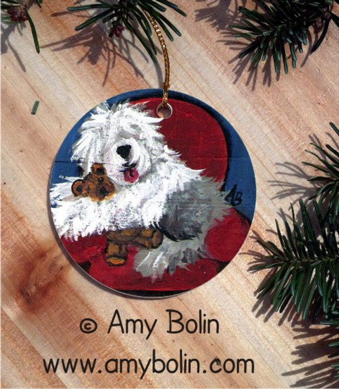 CERAMIC ORNAMENT · JUST ME & TED · OLD ENGLISH SHEEPDOG · AMY BOLIN