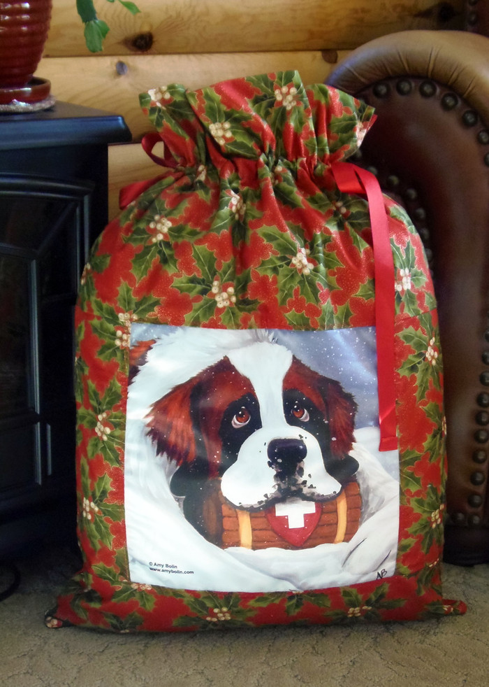 "LARGE 21"" BY 29""  Handmade Gift Bag   ""Break Time""  Saint Bernard    By Dawn Johnson"
