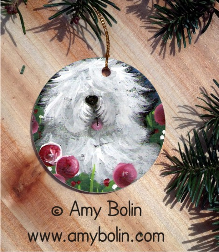 CERAMIC ORNAMENT · MOM'S FAVORITE FLOWER · OLD ENGLISH SHEEPDOG · AMY BOLIN