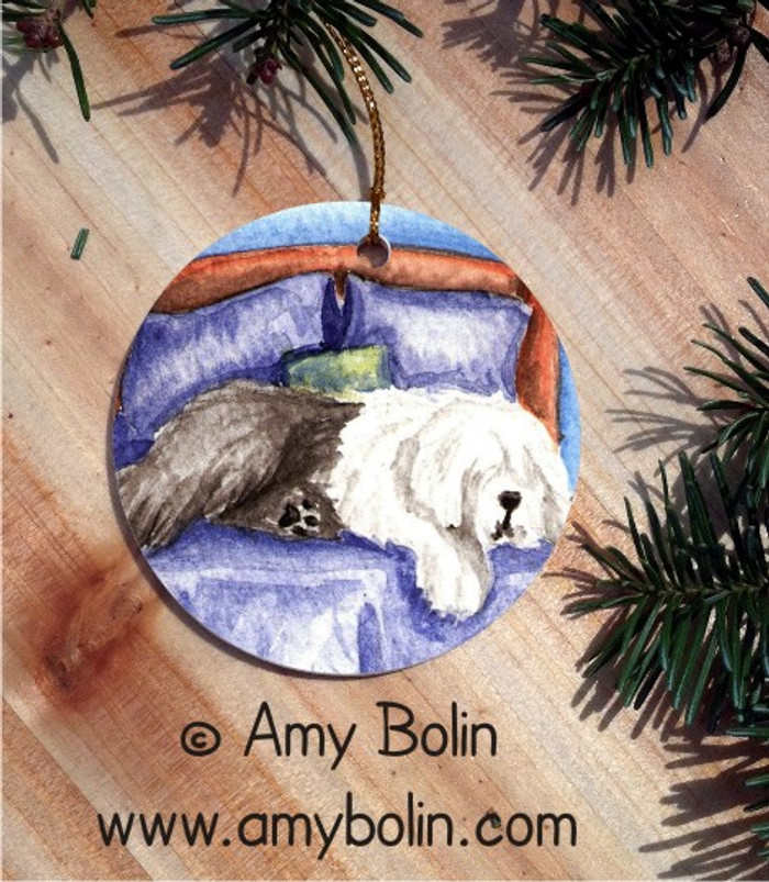CERAMIC ORNAMENT · THE KING ON HIS THRONE · OLD ENGLISH SHEEPDOG · AMY BOLIN