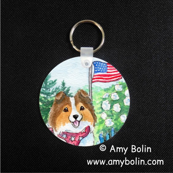 KEY CHAIN · PROUD TO BE AMERICAN · SABLE SHELTIE · AMY BOLIN