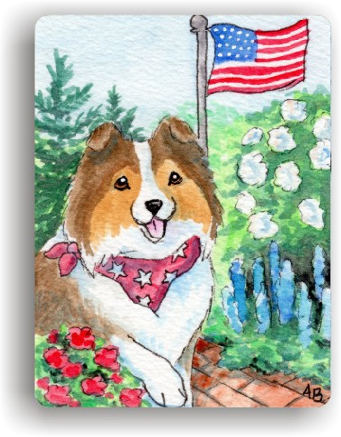 MAGNET · PROUD TO BE AMERICAN · SABLE SHELTIE · AMY BOLIN