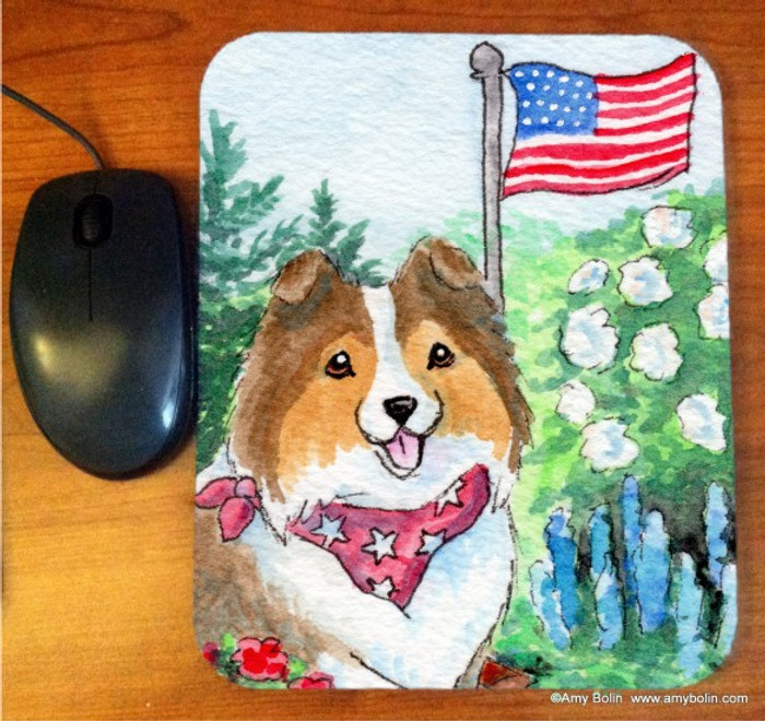 MOUSE PAD · PROUD TO BE AMERICAN · SABLE SHELTIE · AMY BOLIN