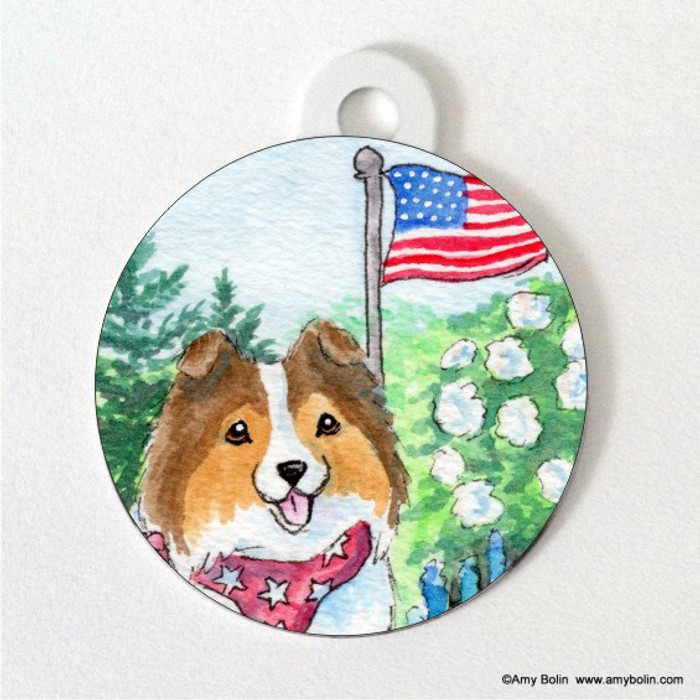 DOUBLE SIDED PET ID TAG · PROUD TO BE AMERICAN · SABLE · AMY BOLIN