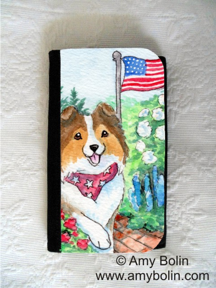 LARGE ORGANIZER WALLET · PROUD TO BE AMERICAN · SABLE SHELTIE · AMY BOLIN