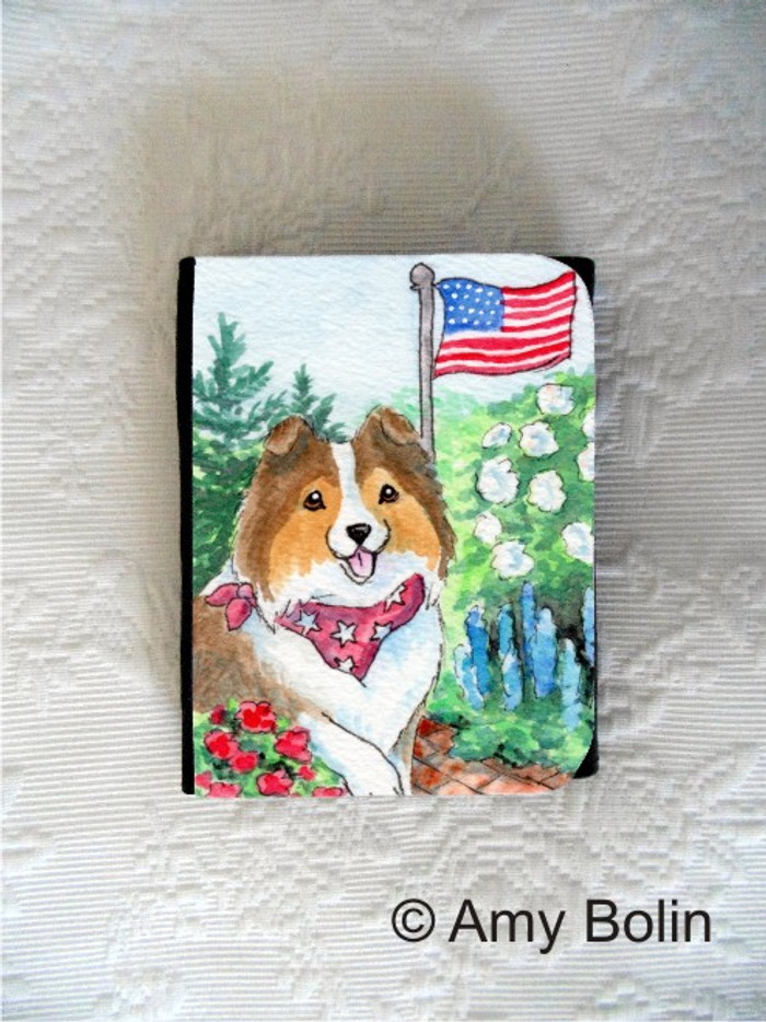 SMALL ORGANIZER WALLET · PROUD TO BE AMERICAN · SABLE SHELTIE · AMY BOLIN