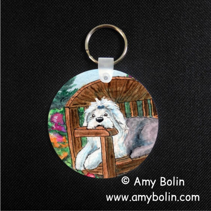 KEY CHAIN · SUMMER'S SIMPLE PLEASURES · OLD ENGLISH SHEEPDOG  · AMY BOLIN