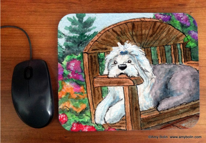 MOUSE PAD · SUMMER'S SIMPLE PLEASURES  · OLD ENGLISH SHEEPDOG  · AMY BOLIN