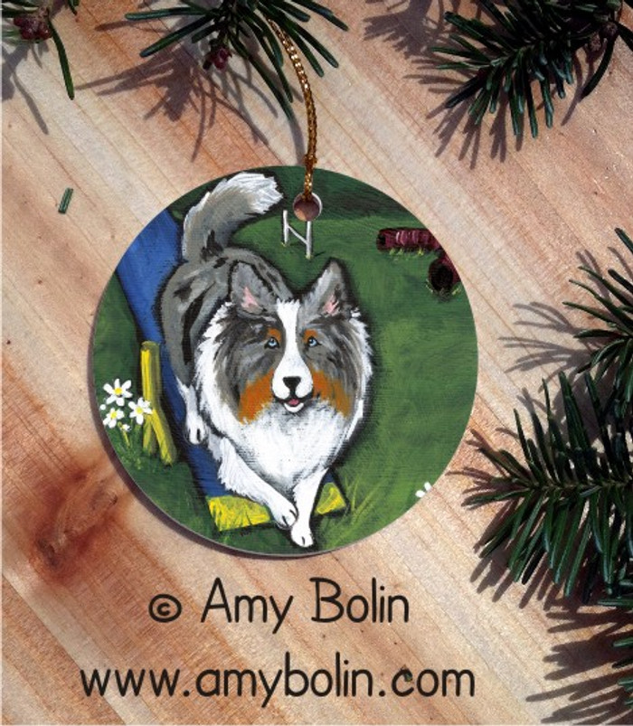 CERAMIC ORNAMENT · AGILITY KING · BLUE MERLE SHELTIE · AMY BOLIN