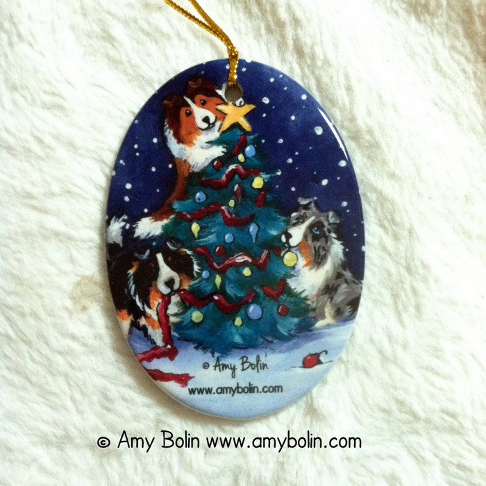 OVAL SHAPED CERAMIC ORNAMENT · CHRISTMAS TOGETHER · BLUE MERLE, SABLE, TRI COLOR SHELTIES · AMY BOLIN