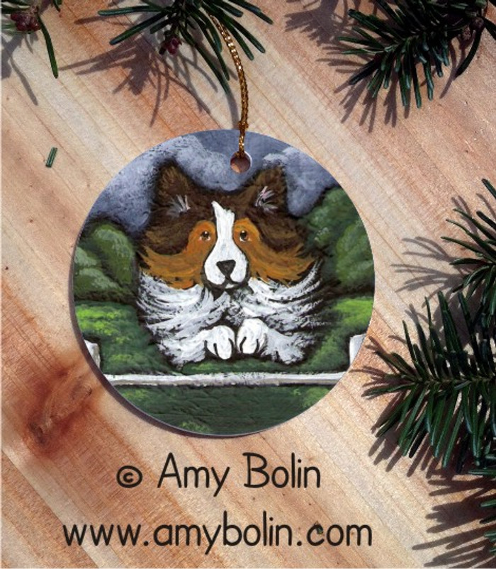 CERAMIC ORNAMENT · AGILITY QUEEN · SABLE SHELTIE · AMY BOLIN