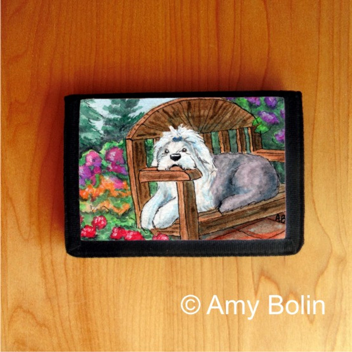 TRIFOLD WALLET · SUMMER'S SIMPLE PLEASURES  · OLD ENGLISH SHEEPDOG    · AMY BOLIN