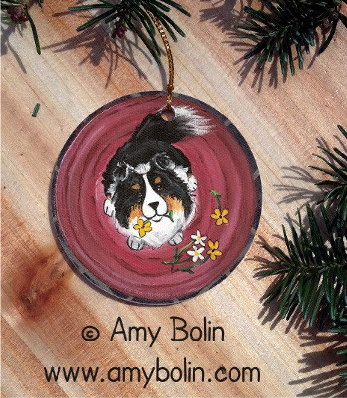 CERAMIC ORNAMENT · BE MINE · TRI COLOR SHELTIE · AMY BOLIN