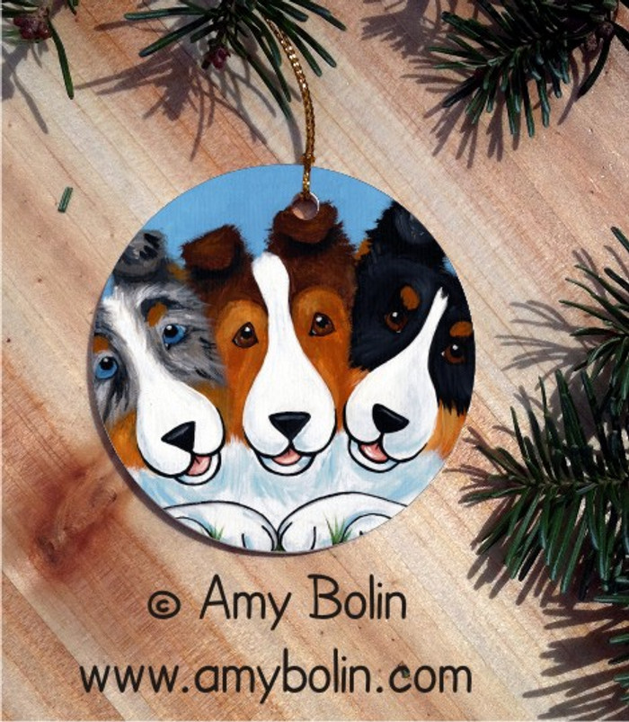 CERAMIC ORNAMENT · BFF'S · BLUE MERLE, SABLE, TRI COLOR SHELTIE · AMY BOLIN