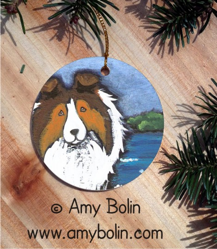 CERAMIC ORNAMENT · DAY AT THE BEACH · SABLE SHELTIE · AMY BOLIN