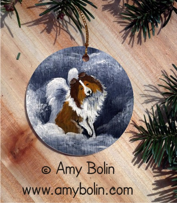 CERAMIC ORNAMENT · DOG BARKS & ANGEL WINGS · SABLE SHELTIE · AMY BOLIN