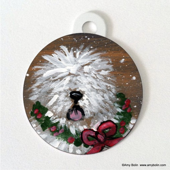 DOUBLE SIDED PET ID TAG · CHRISTMAS TRADITIONS · OLD ENGLISH SHEEPDOG · AMY BOLIN