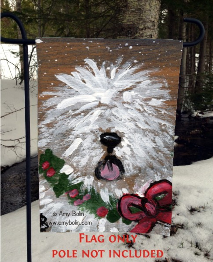 GARDEN FLAG · CHRISTMAS TRADITIONS · OLD ENGLISH SHEEPDOG · AMY BOLIN